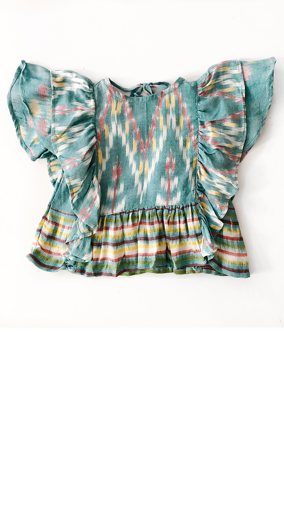 Michele Top - Turquoise Ikat