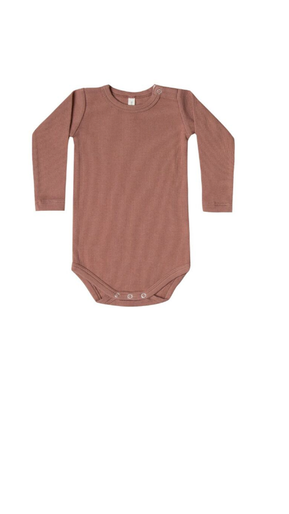 Ribbed Longsleeve Onesie - Clay