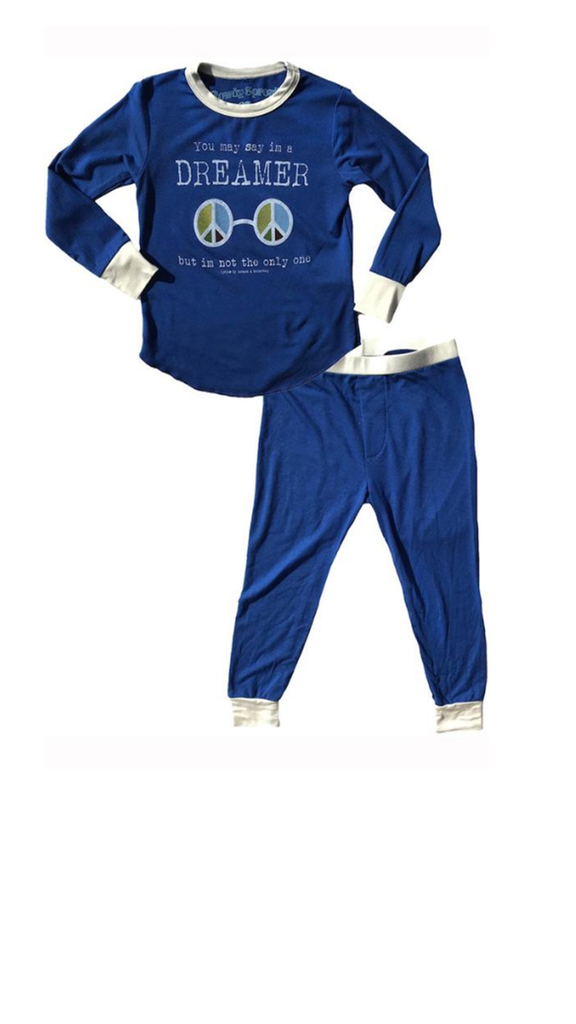 Dreamer Boy Pj Set - True Blue/ White Trim