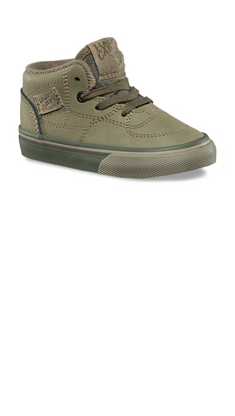 Olive colored boys sneaker with olive laces and sole