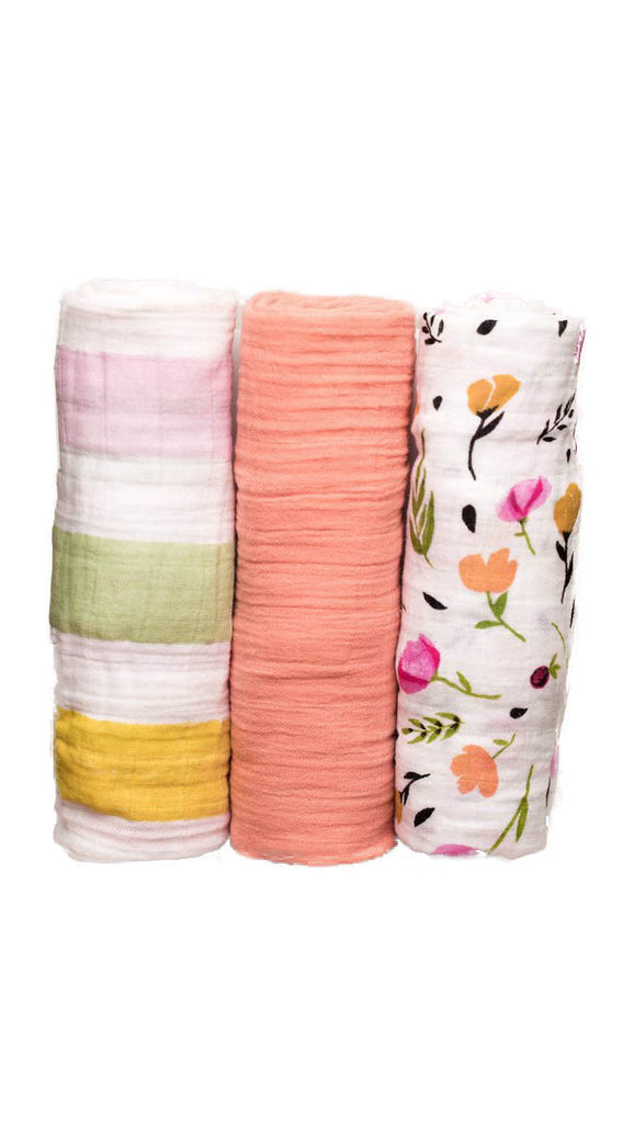 Little Unicorn, Cotton Muslin Swaddle 3 pack - Cabana Stripe Set