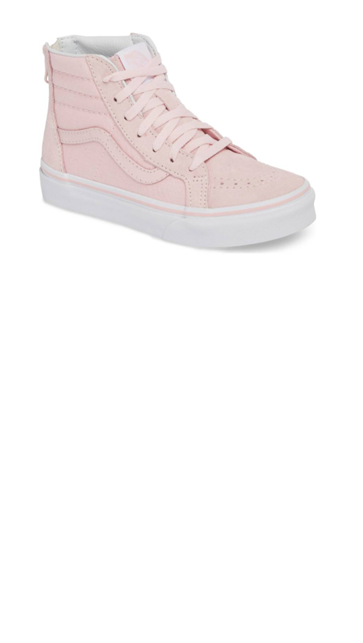 light pink high top girls sneaker with pink laces and white soles