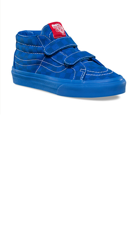 blue checker print velcro closure boys high top shoes