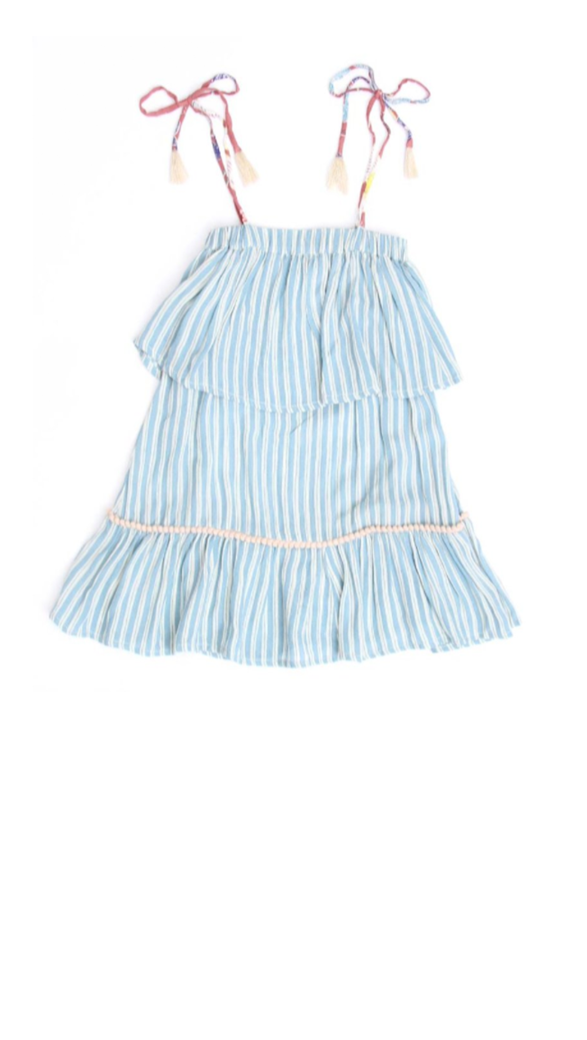 Blue and white stripe girls ruffle dress with tie rust colored floral print straps