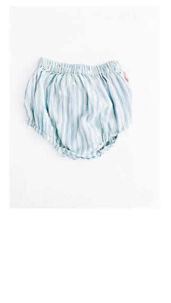 blue/white stripe baby bloomers with rust color floral tie detail on back