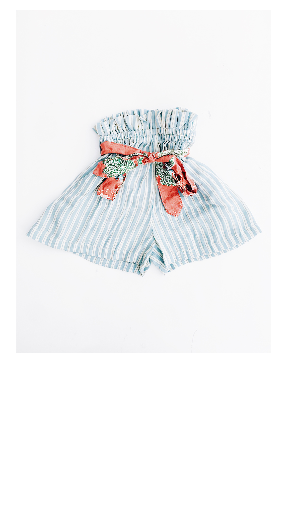 blue/white stripe high waisted girls shorts with rust colored floral bow belt