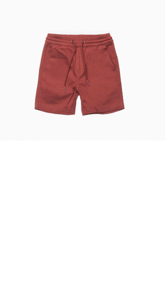 Brick colored elastic waist boys shorts