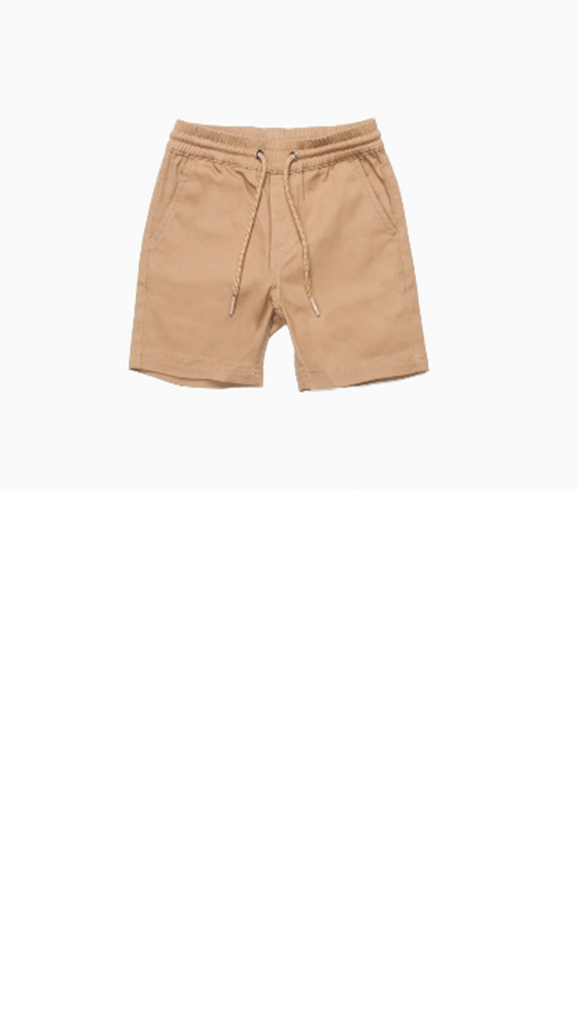 tan elastic waist boys shorts