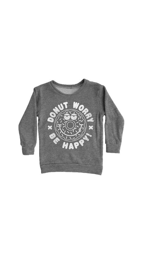 "Tiny Whales ""Donut Worry"" Sweatshirt - Tri Gray"