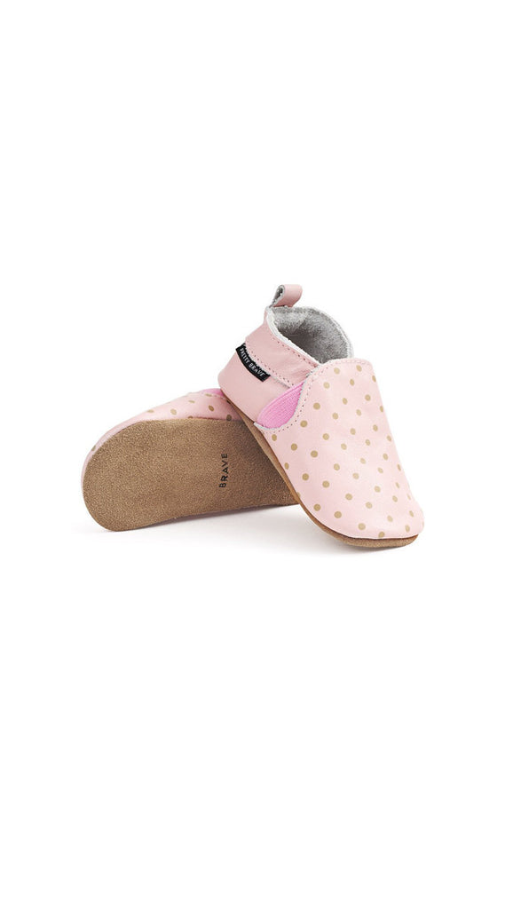 Pretty Brave, Slip On Mocs - Blush with Dots