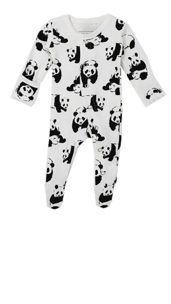 Organic Footed Overall - White Panda