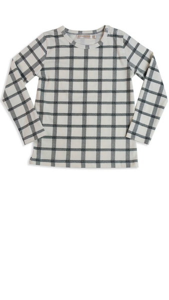 Herringbone Check Tee - Cream/Black