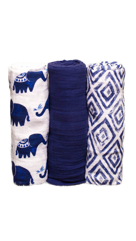 Little Unicorn, Cotton Muslin Swaddle 3 pack - Indie Elephant