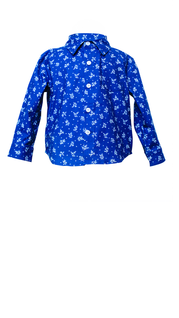 Blue button up boys shirt with white flower print throughout