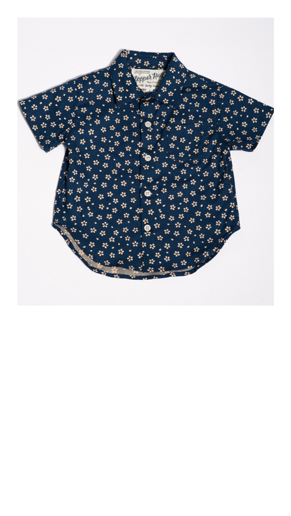 Hopper Hunter, Short Sleeve Shirt - Blue w/ Cream Flowers