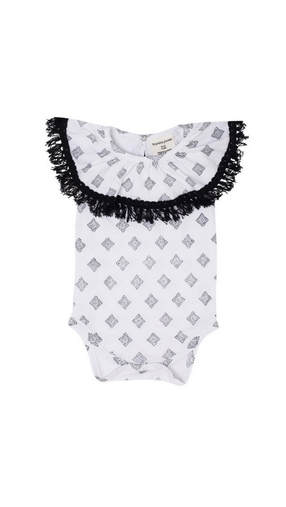 Frankie Jones, Mandela Ruffle Romper - White Diamonds Print