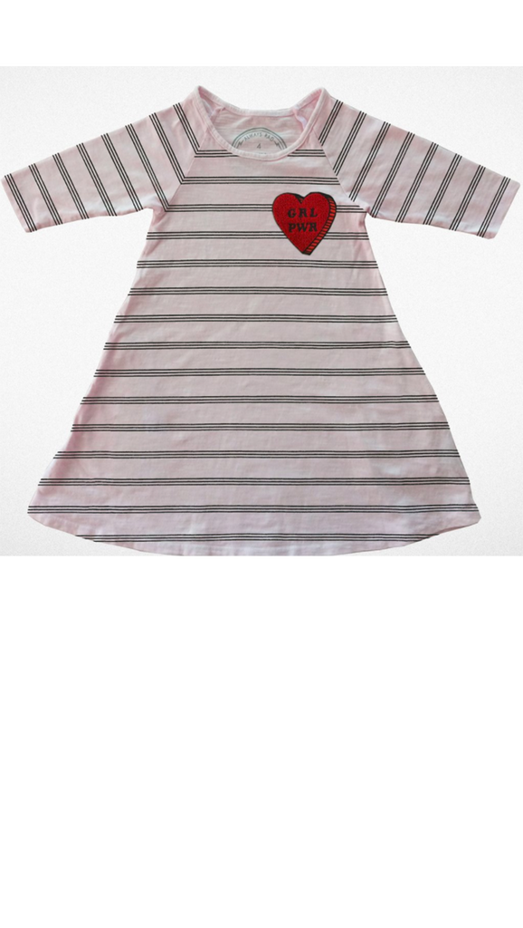 Girl Power Raglan Dress - Stripe