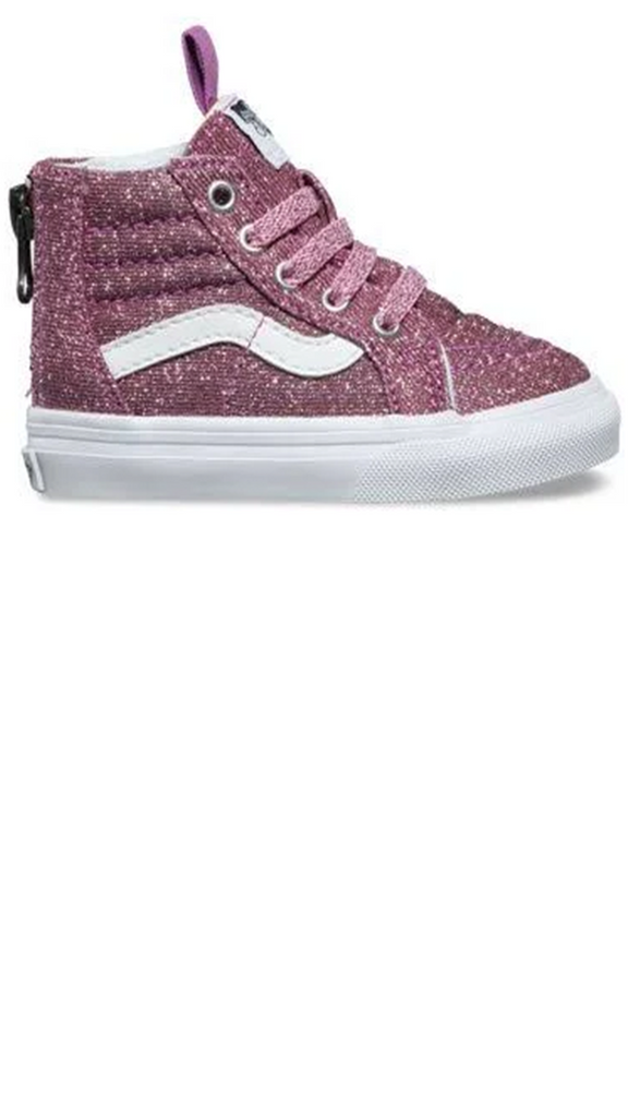 Sk8-Hi Zip - (Lurex Glitter) Pink/True White