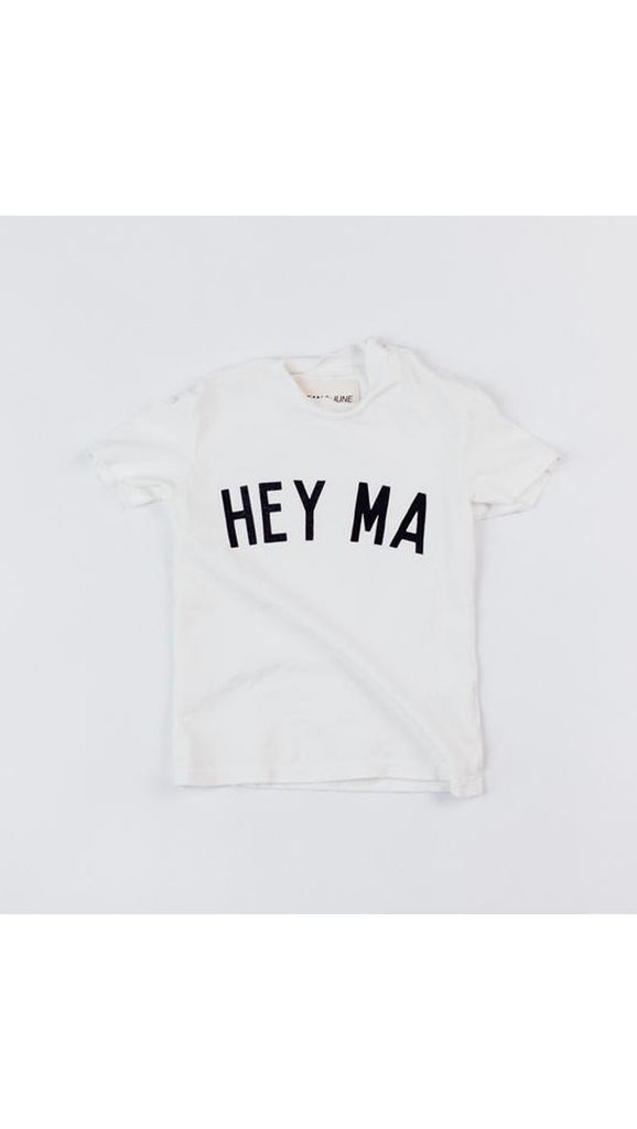 Jean and June Hey Ma baby tee - white