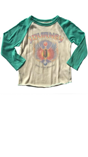 Journey Raglan Tee - Cream/Spring Green
