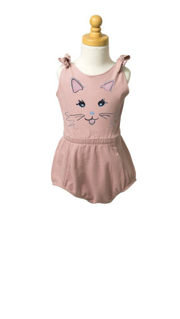 French Terry Romper - Kitten Face Silver Pink