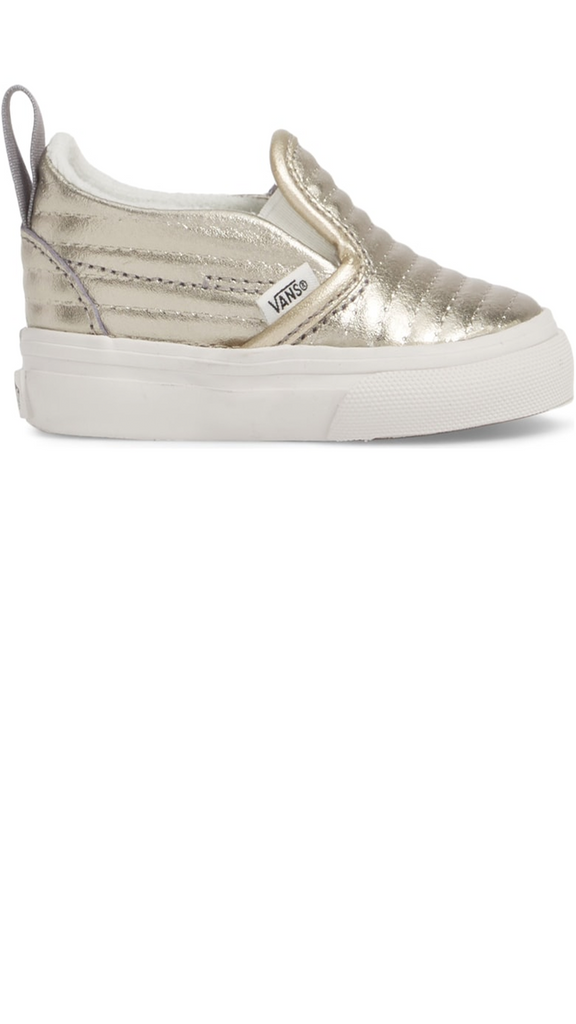 Slip On V - Moto Leather/Metallic Silver