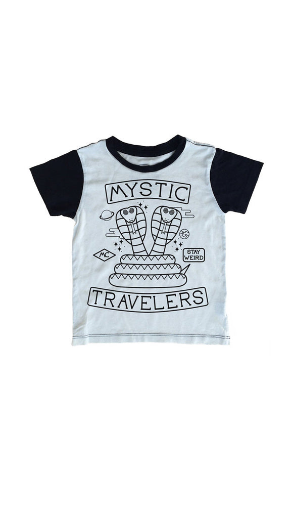 "Tiny Whales ""Mystic Travelers"" tee - Natural/black"