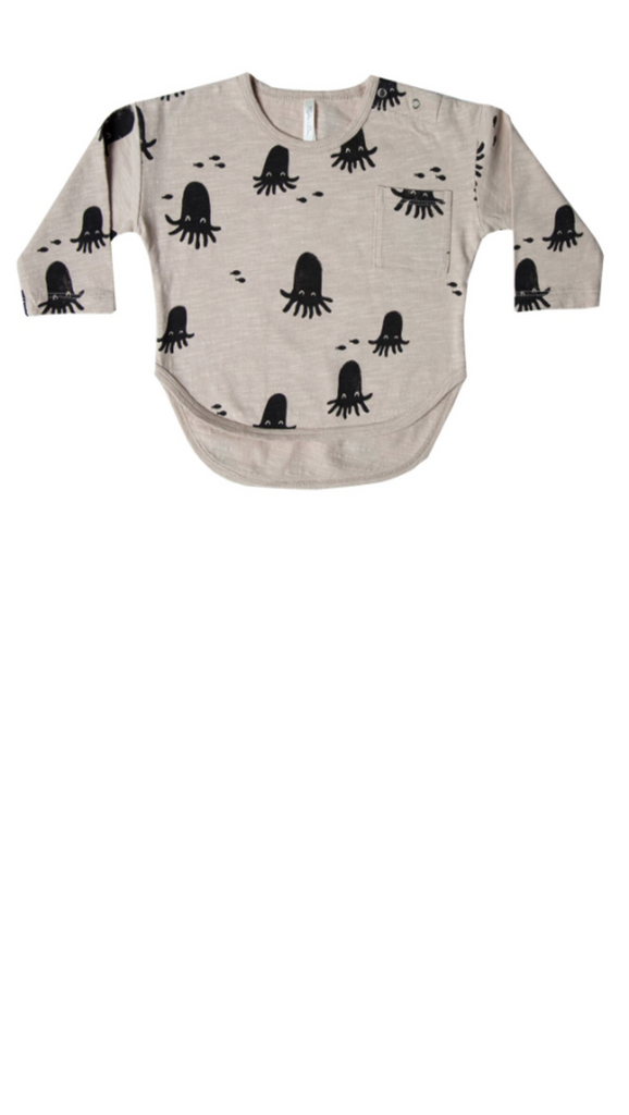 Cream/Black Octopus Printed quarter sleeve top