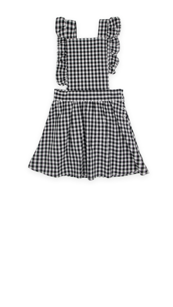 Lil' Lemons, Checkers Pinafore Dress - Blk/Wht Gingham