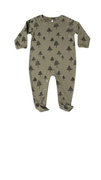 Tree Footed Onesie - Olive