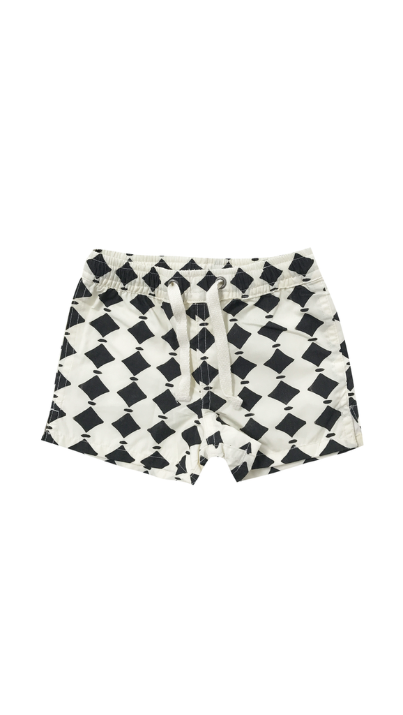 Rylee + Cru, Diamonds Swim Trunks - Vanilla