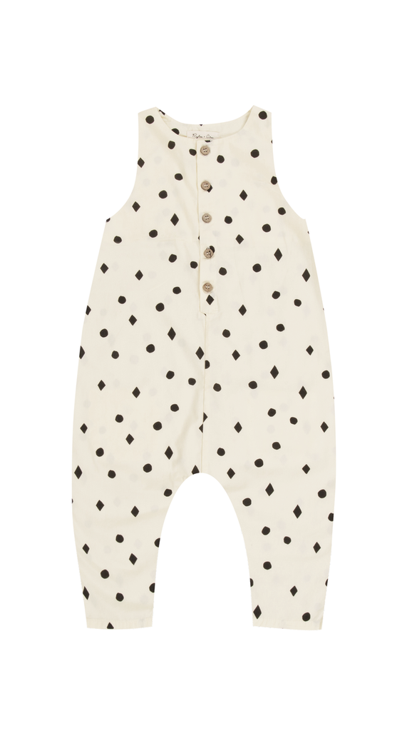 Rylee + Cru, Dots n Diamonds Button Jumpsuit - Vanilla