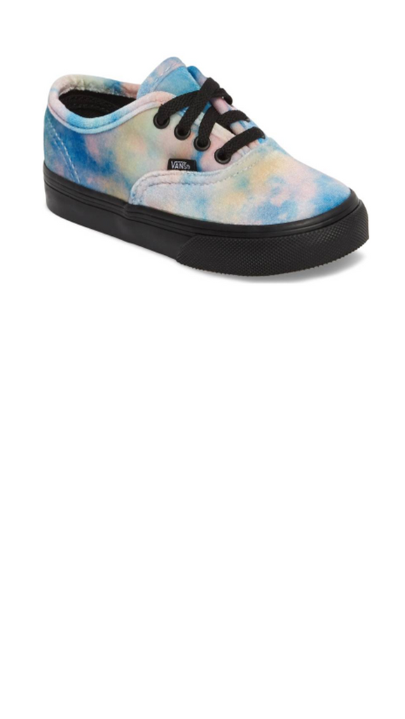 velvet tie dye toddler sneakers with black soles and shoelaces