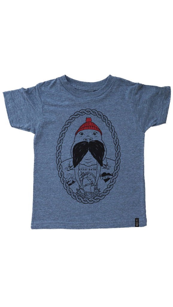 Tiny Whales, Walrus Captain Tee, Triblend Gray