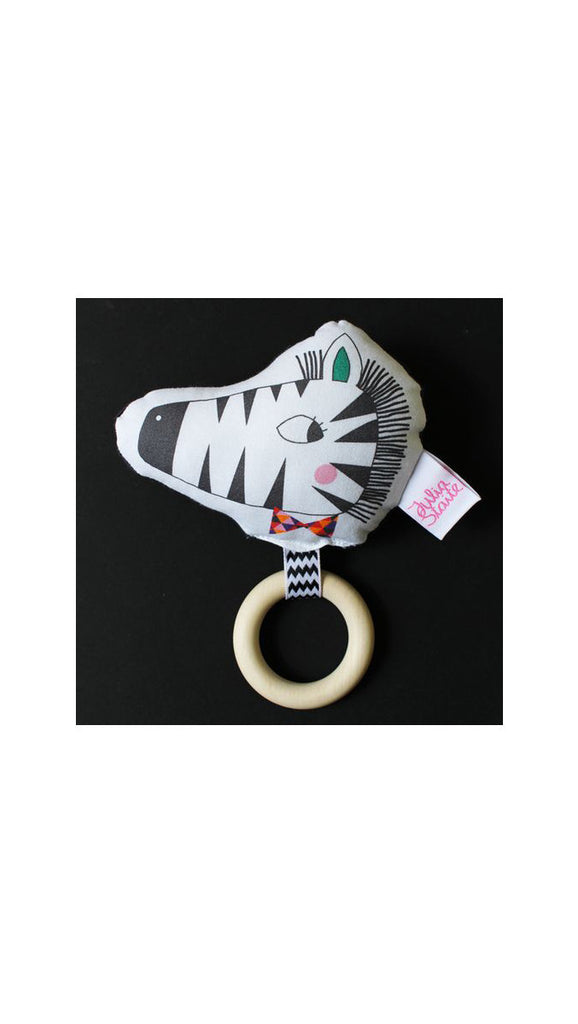 Julia Staite Tribal Safari Zebra Rattle Teether