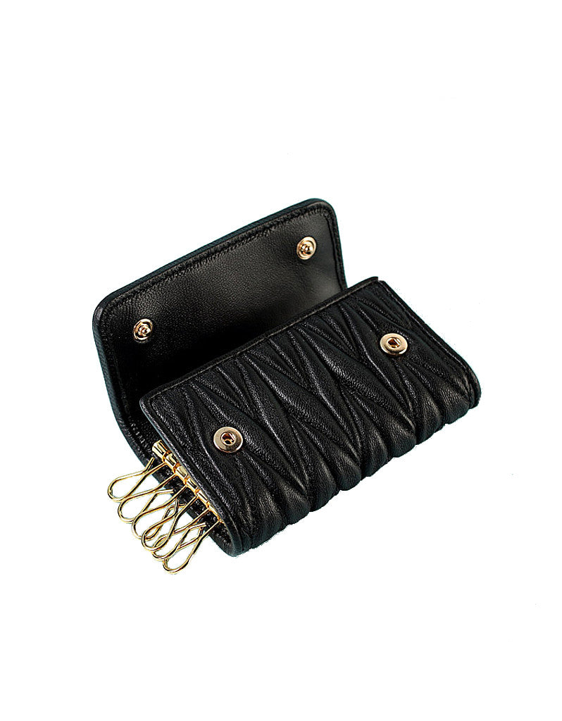 Genuine sheepskin leather key pouch with matelassé design (more colours)