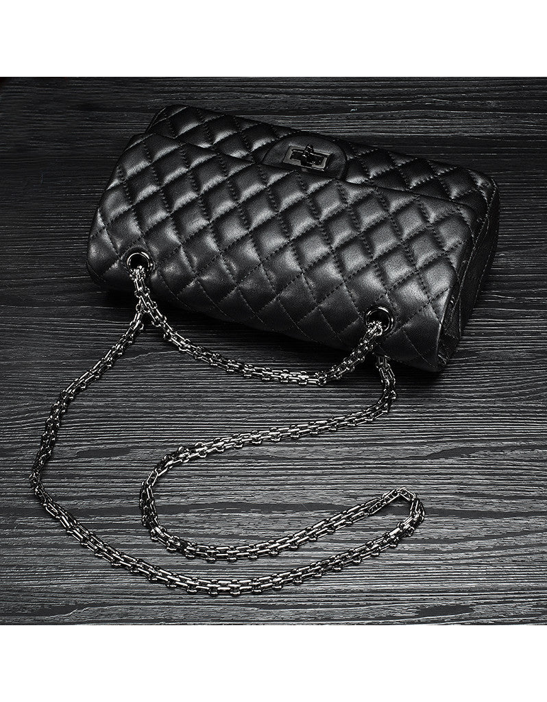 Genuine sheepskin leather quilted flap handbag