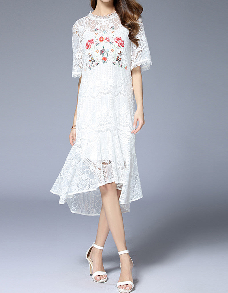 Embroidered bohemian mid-length sleeve lacy long dress