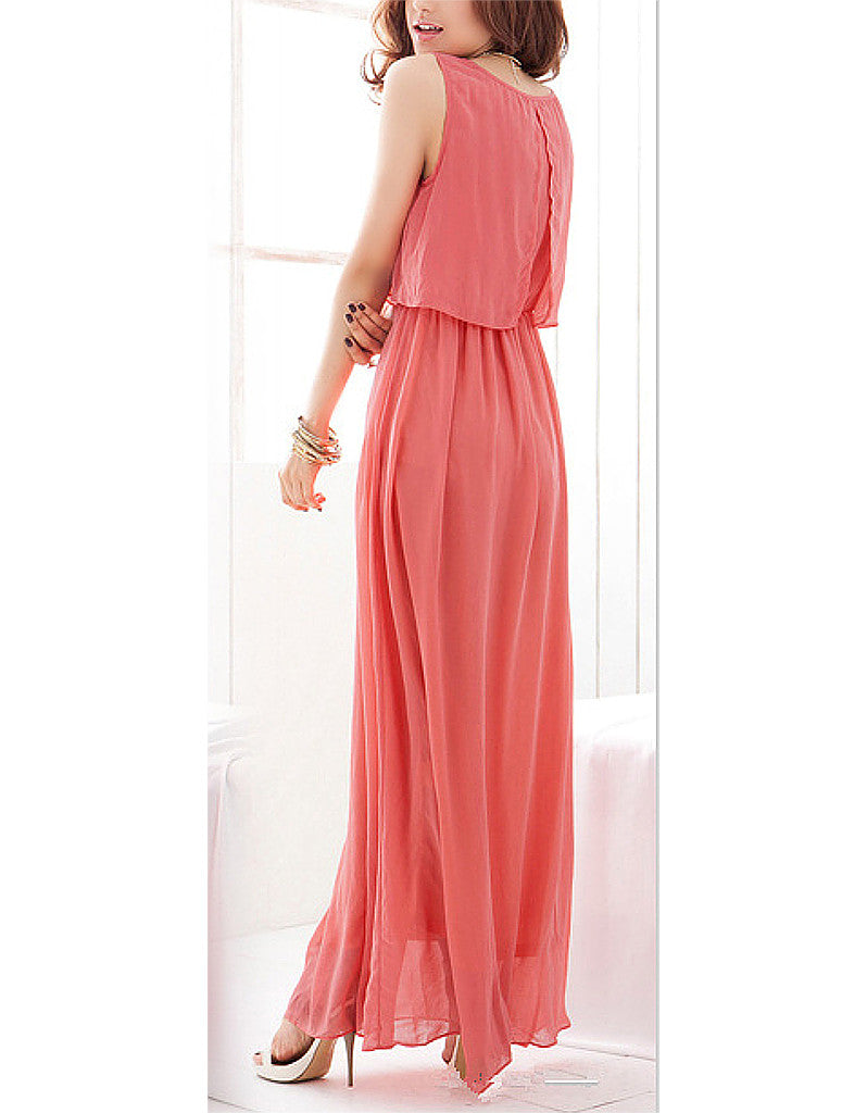 Sleeveless flowy long dress