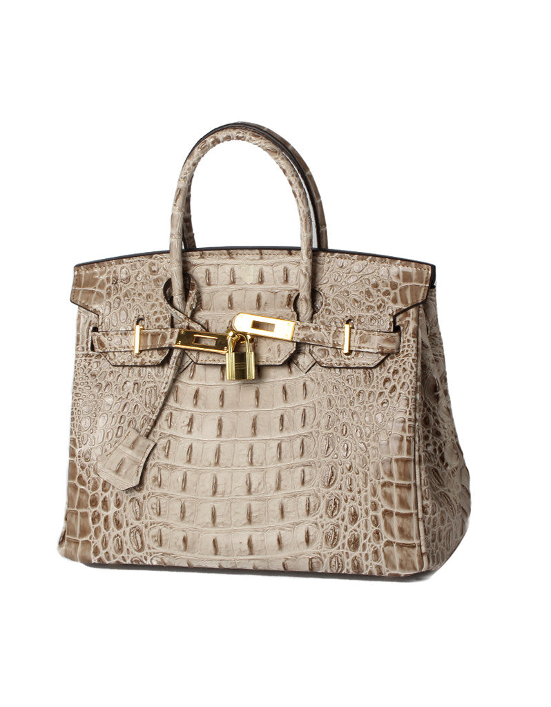 Genuine leather crocodile prints tote bag with lock and clochette - MEDIUM (more colours)