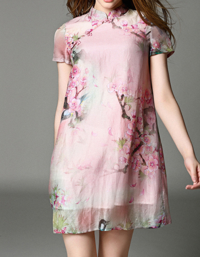Short-sleeve short flared cheongsum