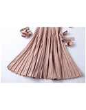 3/4 sleeve V-neck knitted pleated mid-length dress (More colours)