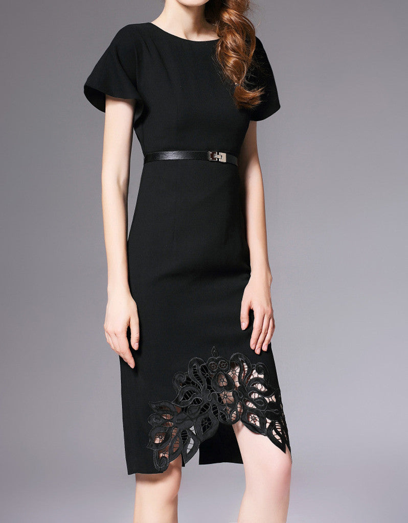 Short sleeve tailored front laced long dress