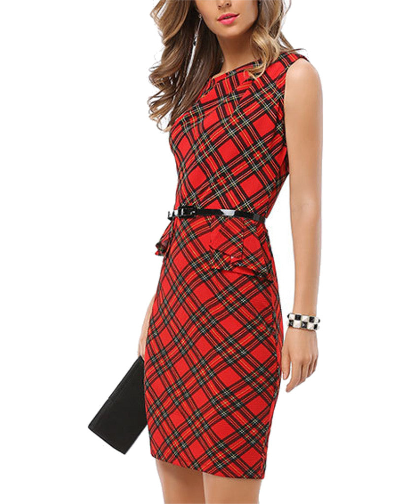 Sleeveless checkered mid-length pencil peplum dress