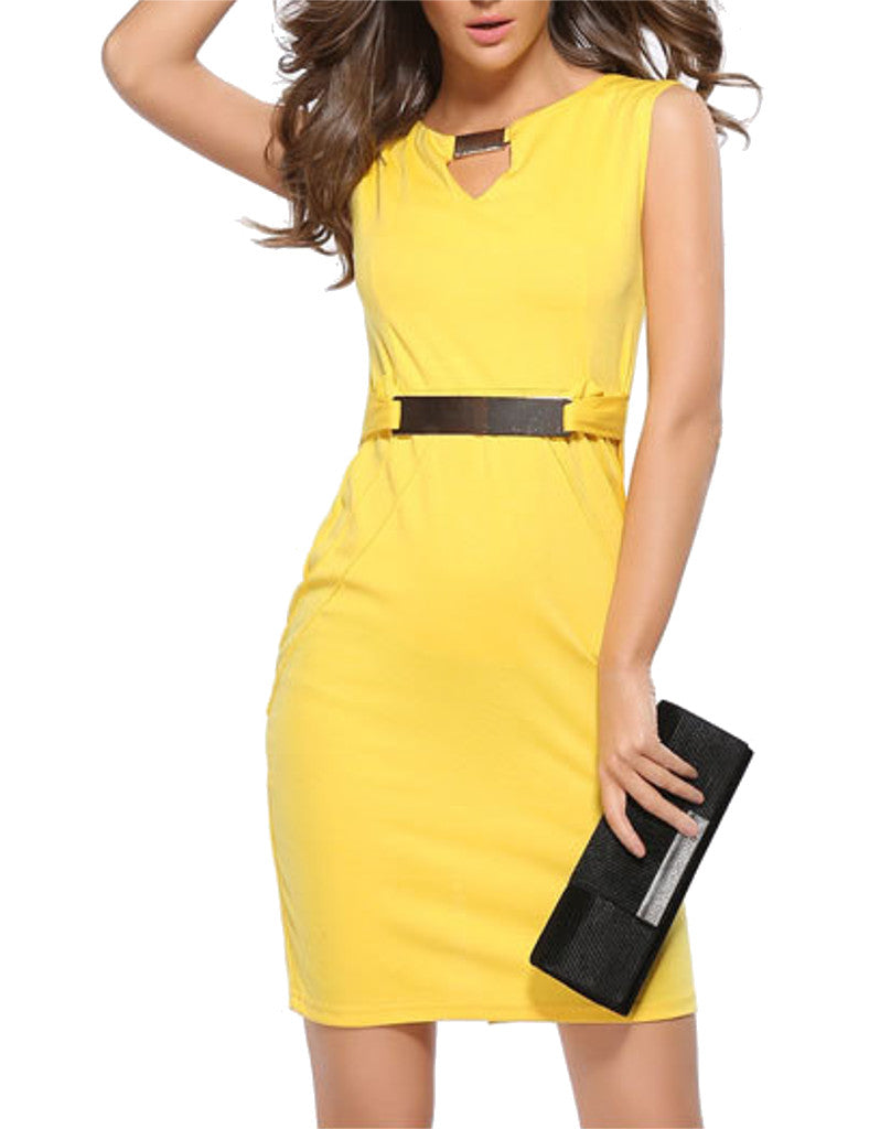 Sleeveless mid-length pencil dress with metallic accents