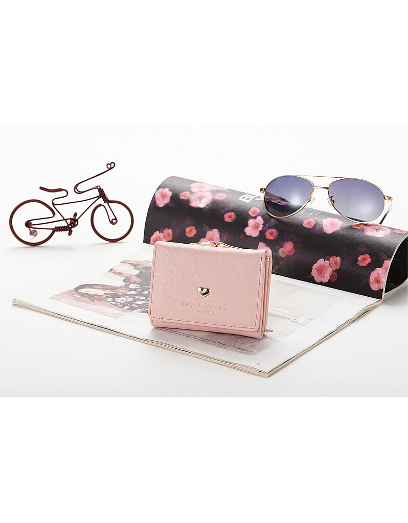 3-fold PU leather wallet with metal heart marquee (more colours)