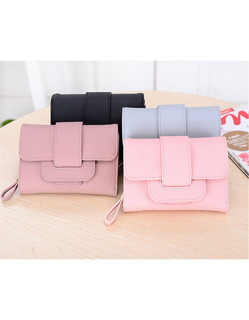 3-fold PU leather wallet with strap closure (more colours)