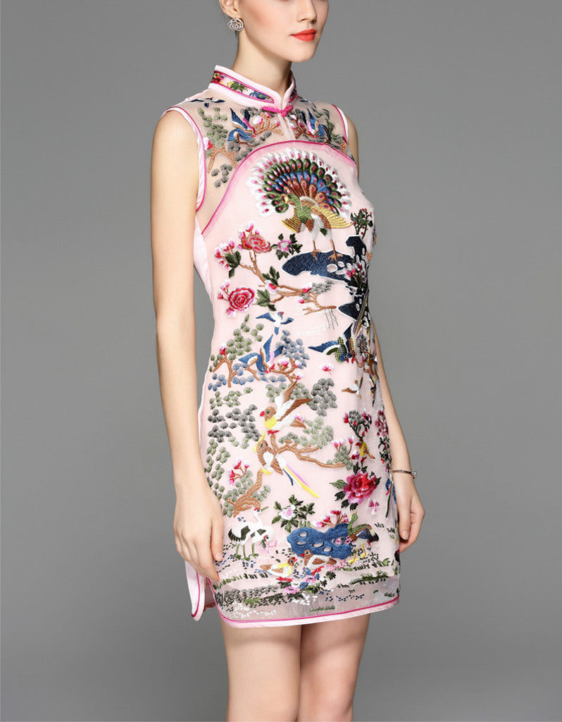 Sleeveless short tailored cheongsam with full front embroidery (more colours)