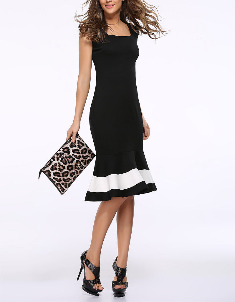 Sleeveless tailored monochrome mermaid dress