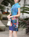 Short sleeve printed short tailored cheongsam